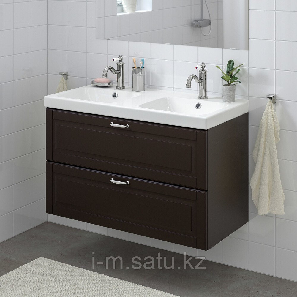 ГОДМОРГОН / ОДЕНСВИК Шкаф для раковины с 2 ящ, Кашён темно-серый, ХАМНШЕР смеситель, 103x49x64 см
