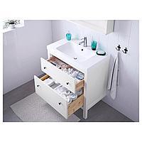 ХЕМНЭС / ОДЕНСВИК Шкаф для раковины с 2 ящ, белый, РУНШЕР смеситель, 83x49x89 см