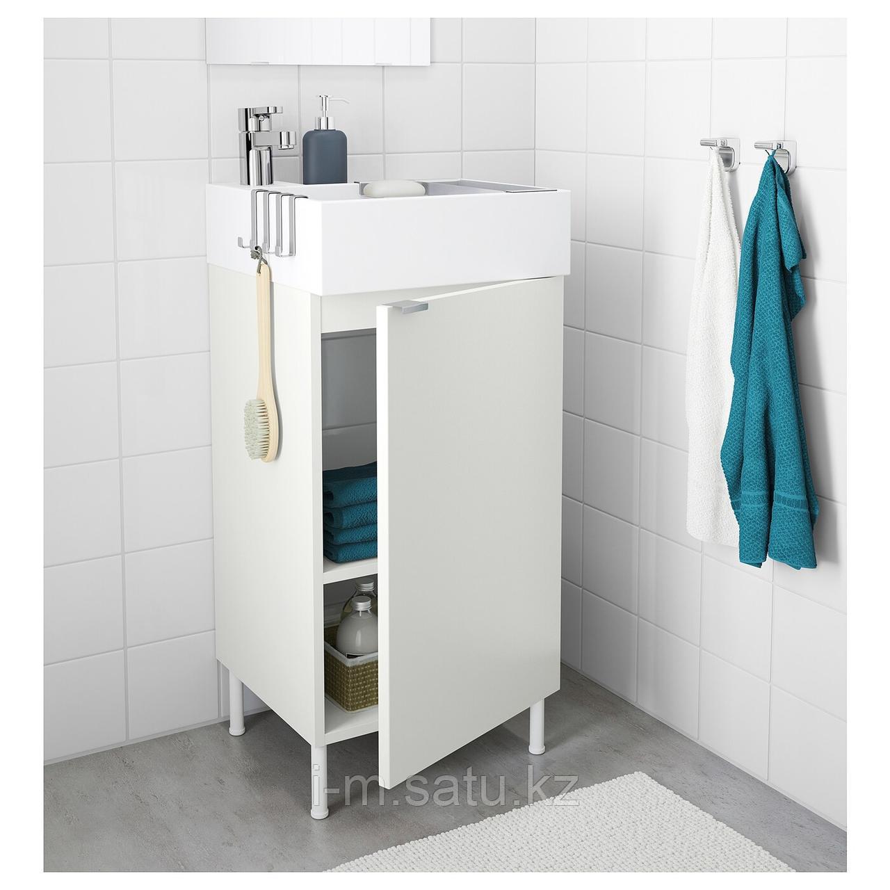 ЛИЛЛОНГЕН Шкаф под раковину с 1 дверцей, белый, ЭНСЕН смеситель, 41x41x87 см