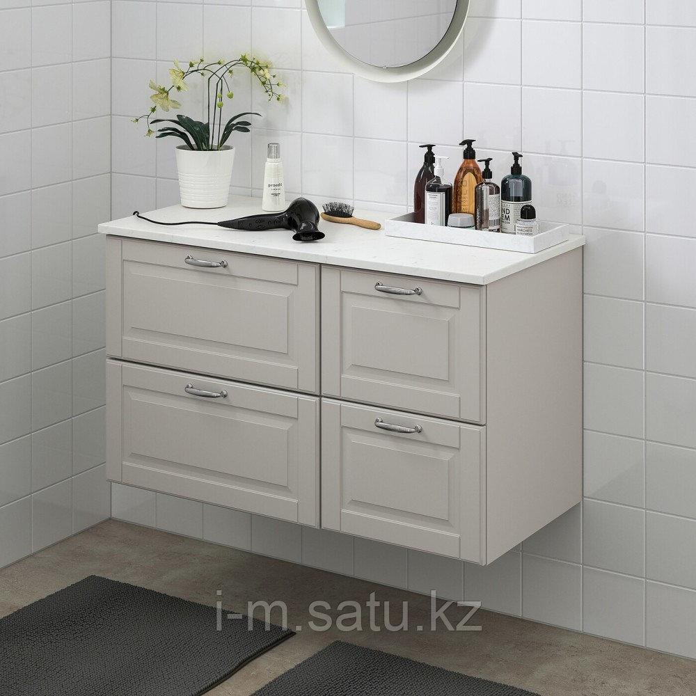 ГОДМОРГОН / ТОЛКЕН Шкаф для раковины с 4 ящ, Кашён светло-серый, под мрамор, 102x49x60 см