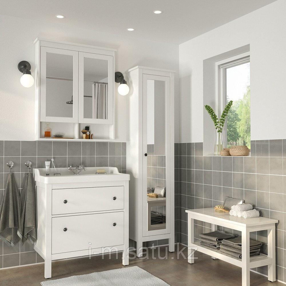 ХЕМНЭС / РЭТТВИКЕН Комплект мебели для ванной,5 предм., белый, РУНШЕР смеситель, 82 см