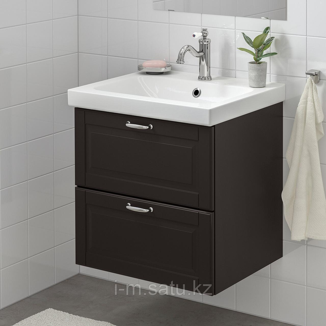 ГОДМОРГОН / ОДЕНСВИК Шкаф для раковины с 2 ящ, Кашён темно-серый, ХАМНШЕР смеситель, 63x49x64 см