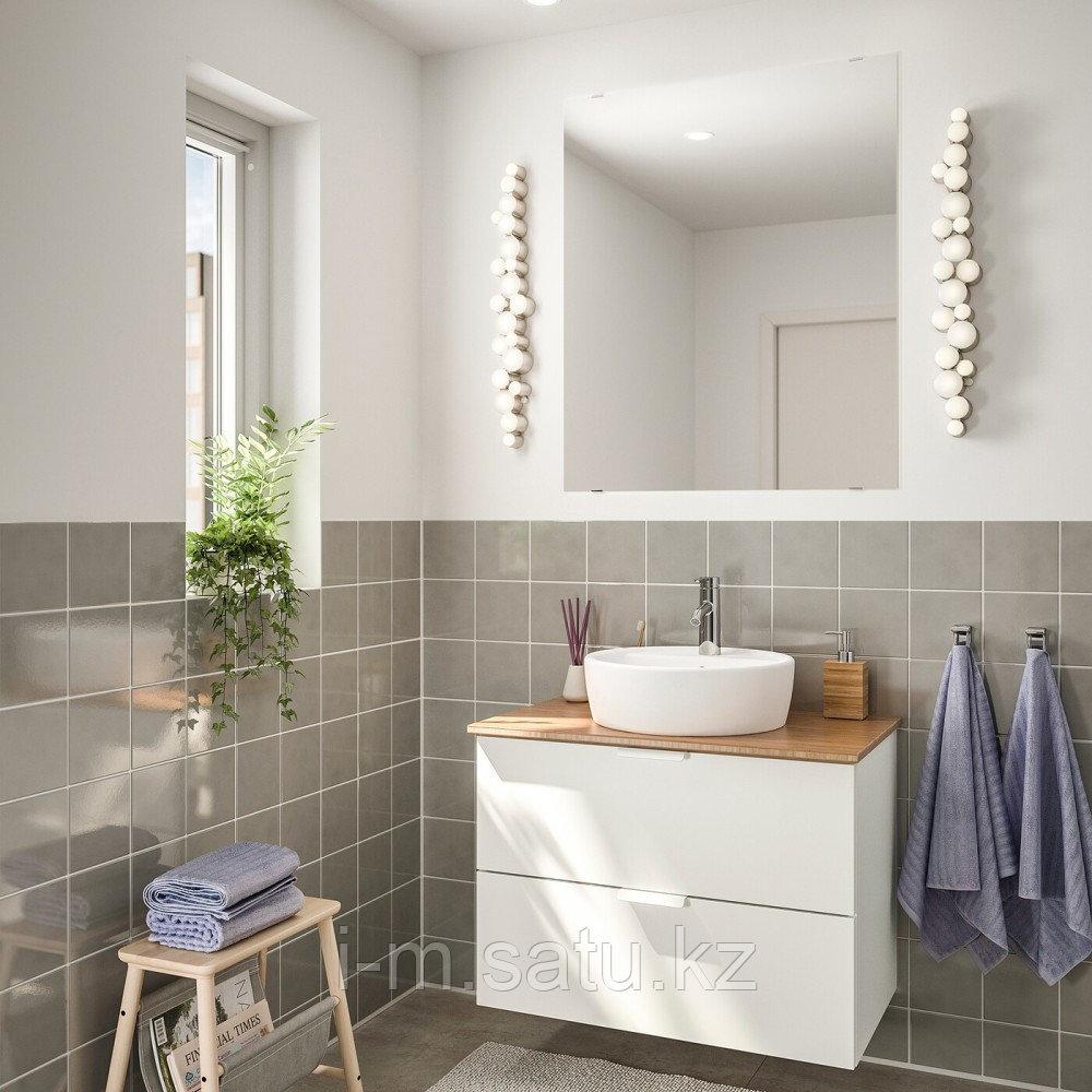 ГОДМОРГОН/ТОЛКЕН / ТОРНВИКЕН Комплект мебели для ванной,5 предм., белый, бамбук ДАЛЬШЕР смеситель, 45 см