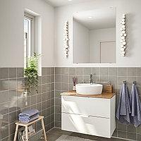 ГОДМОРГОН/ТОЛКЕН / ТОРНВИКЕН Комплект мебели для ванной,5 предм., белый, бамбук ДАЛЬШЕР смеситель, 45 см, фото 1