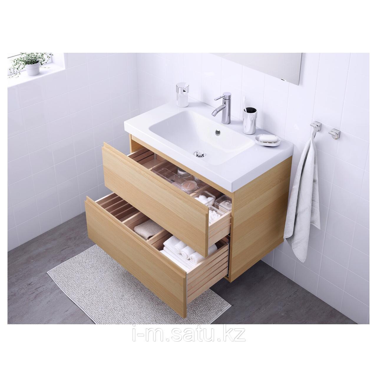 ГОДМОРГОН / ОДЕНСВИК Шкаф для раковины с 2 ящ, под беленый дуб, ДАЛЬШЕР смеситель, 83x49x64 см