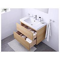 ГОДМОРГОН / ОДЕНСВИК Шкаф для раковины с 2 ящ, под беленый дуб, ДАЛЬШЕР смеситель, 83x49x64 см, фото 1