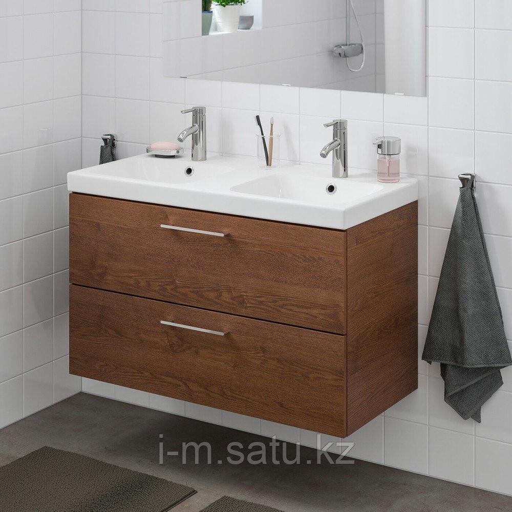 ГОДМОРГОН / ОДЕНСВИК Шкаф для раковины с 2 ящ, под коричневый мореный ясень, ДАЛЬШЕР смеситель, 103x49x64 см