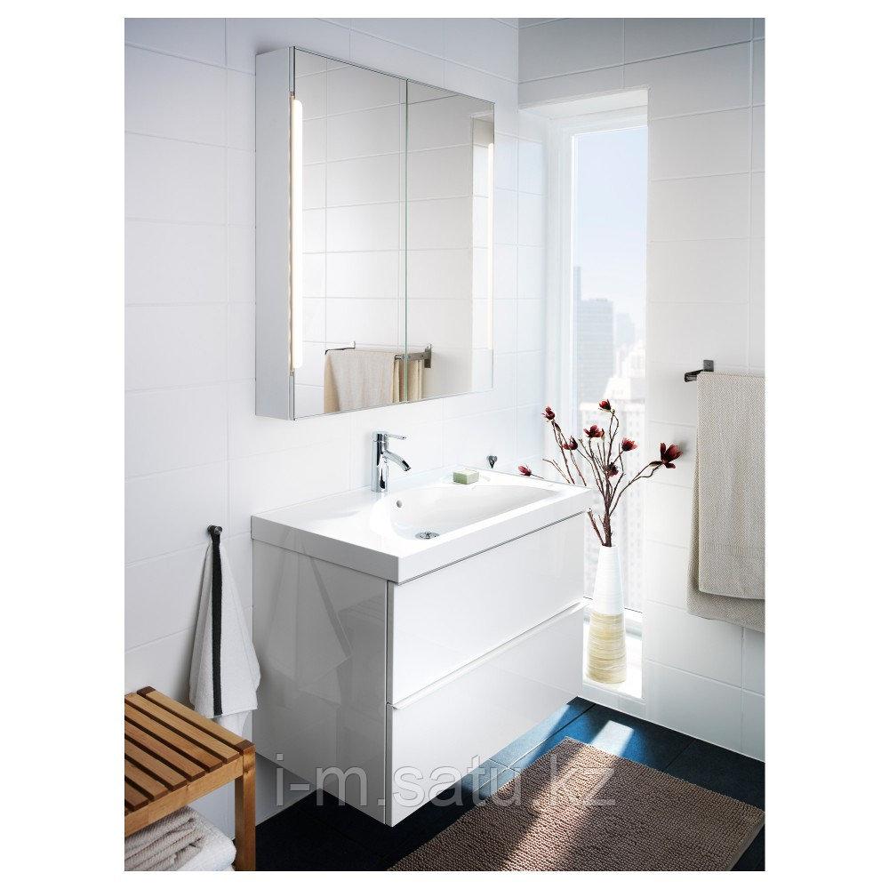 СТОРЙОРМ Зеркальн шкафчик/2дверцы/подсветка, белый, 80x14x96 см