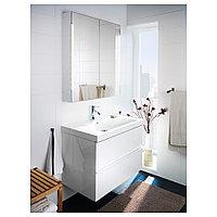 СТОРЙОРМ Зеркальн шкафчик/2дверцы/подсветка, белый, 80x14x96 см, фото 1