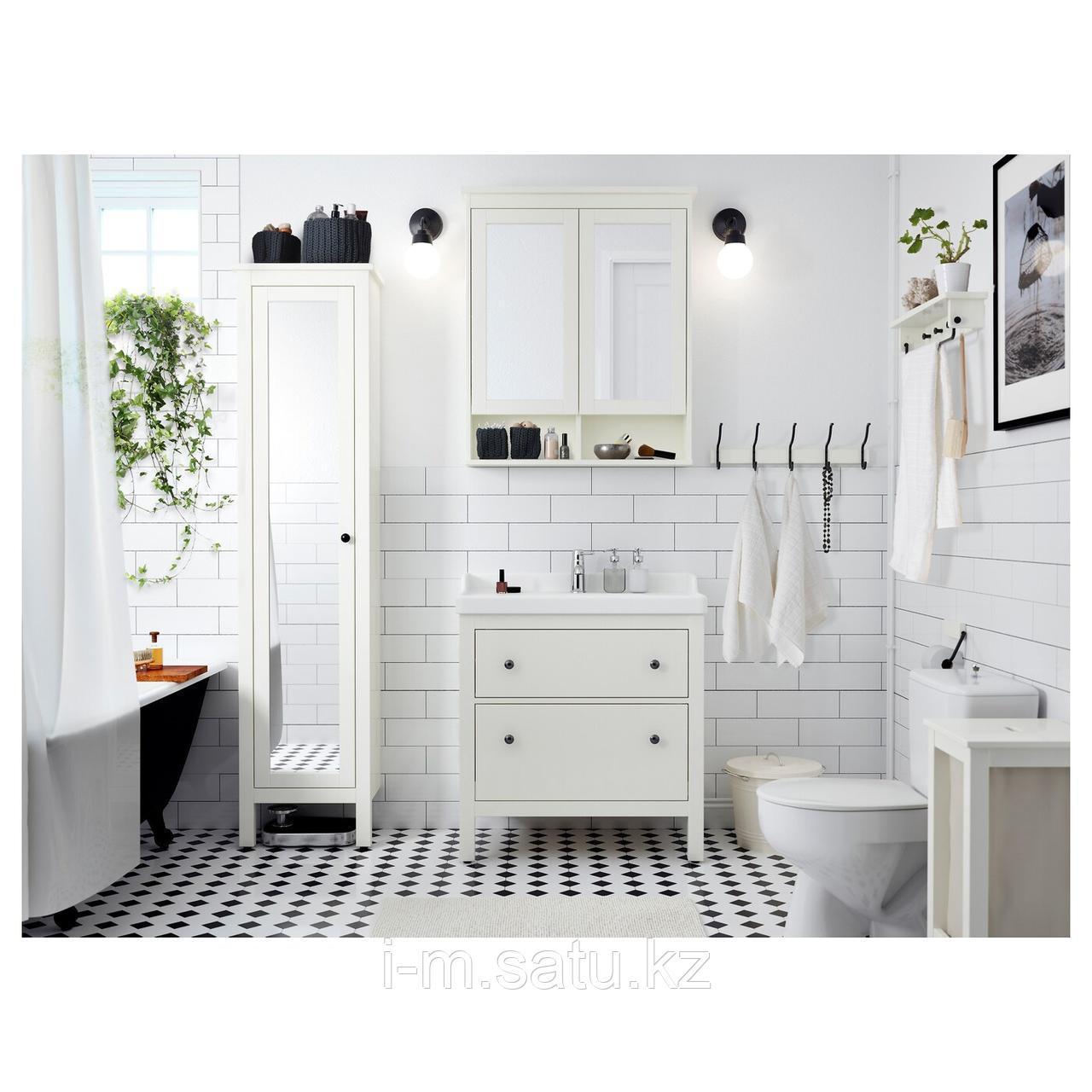 ХЕМНЭС / РЭТТВИКЕН Шкаф для раковины с 2 ящ, белый, РУНШЕР смеситель, 82x49x89 см