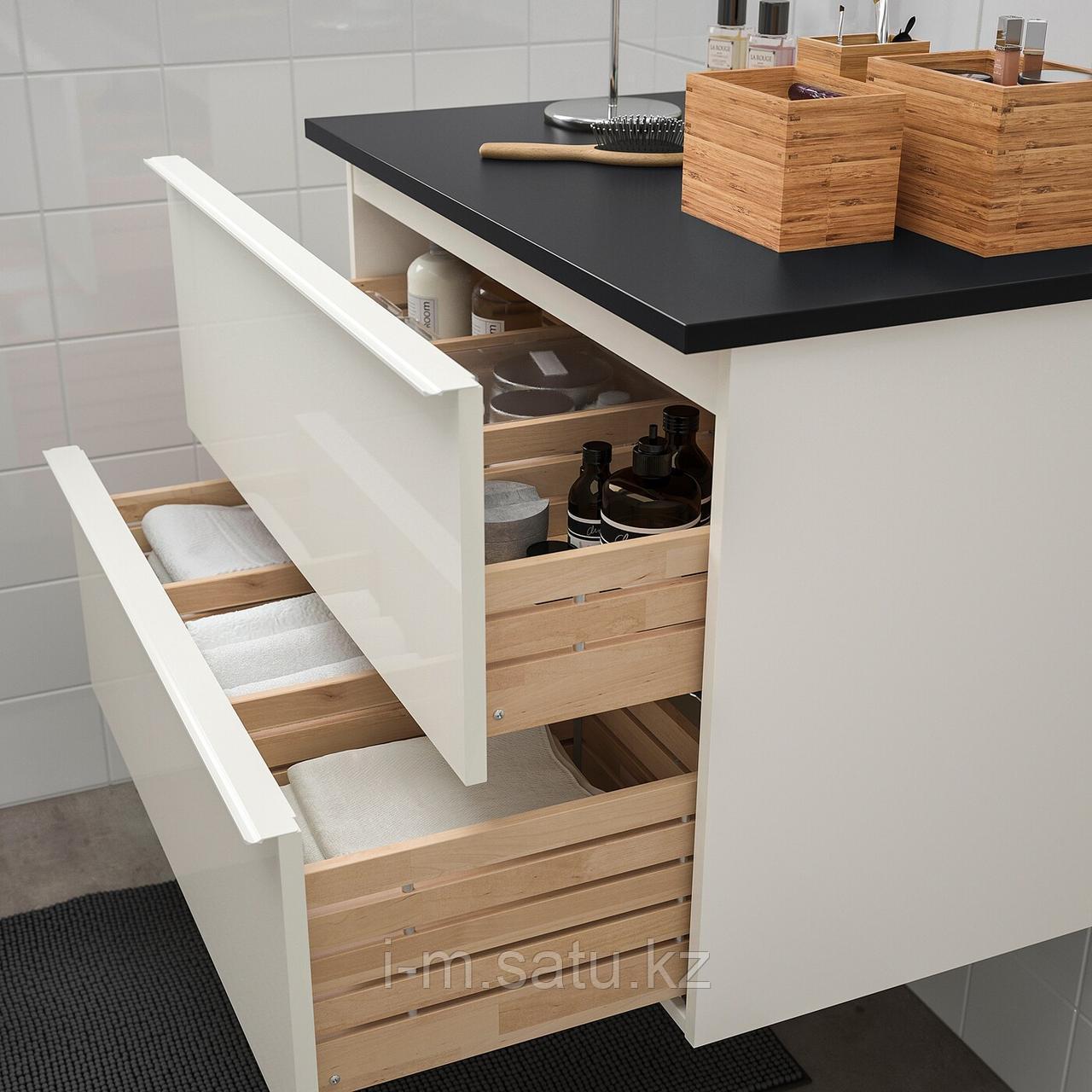 ГОДМОРГОН / ТОЛКЕН Шкаф для раковины с 2 ящ, глянцевый белый, антрацит, 82x49x60 см