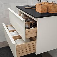 ГОДМОРГОН / ТОЛКЕН Шкаф для раковины с 2 ящ, глянцевый белый, антрацит, 82x49x60 см, фото 1