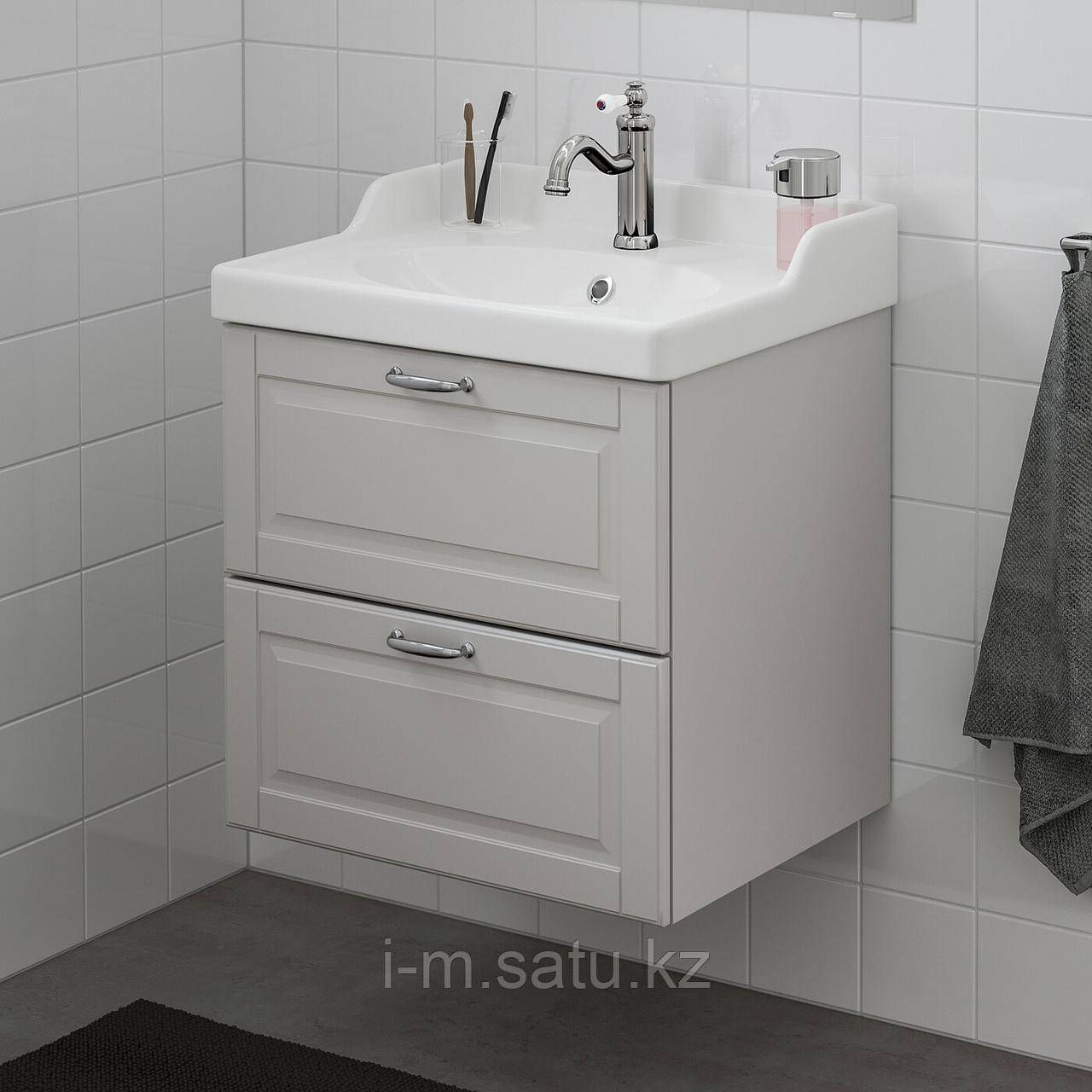 ГОДМОРГОН / РЭТТВИКЕН Шкаф для раковины с 2 ящ, Кашён светло-серый, ХАМНШЕР смеситель, 62x49x68 см