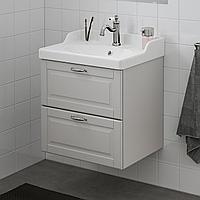ГОДМОРГОН / РЭТТВИКЕН Шкаф для раковины с 2 ящ, Кашён светло-серый, ХАМНШЕР смеситель, 62x49x68 см, фото 1