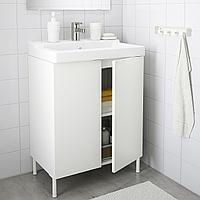 ЛИЛЛОНГЕН / ТЭЛЛЕВИКЕН Шкаф под раковину с 2 дверц, белый, ЭНСЕН смеситель, белый белый