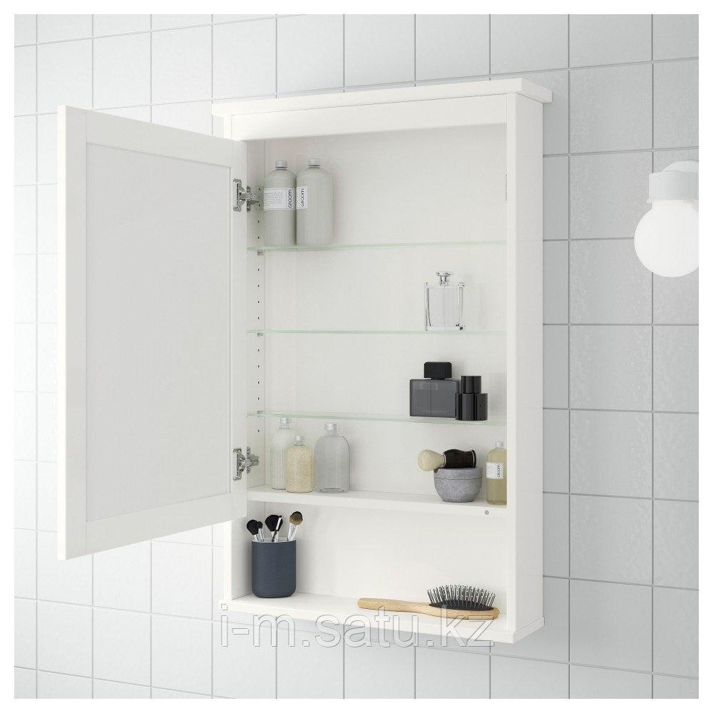 ХЕМНЭС Зеркальный шкаф с 1 дверцей, белый, 63x16x98 см