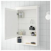 ХЕМНЭС Зеркальный шкаф с 1 дверцей, белый, 63x16x98 см, фото 1