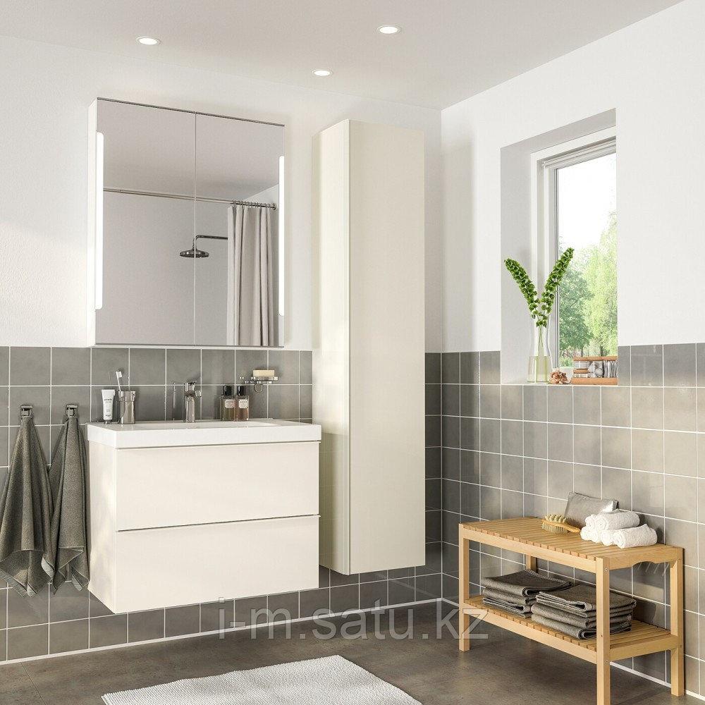 ГОДМОРГОН / ОДЕНСВИК Комплект мебели для ванной,5 предм., глянцевый белый, БРОГРУНД смеситель, 83 см