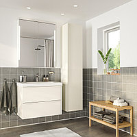 ГОДМОРГОН / ОДЕНСВИК Комплект мебели для ванной,5 предм., глянцевый белый, БРОГРУНД смеситель, 83 см, фото 1