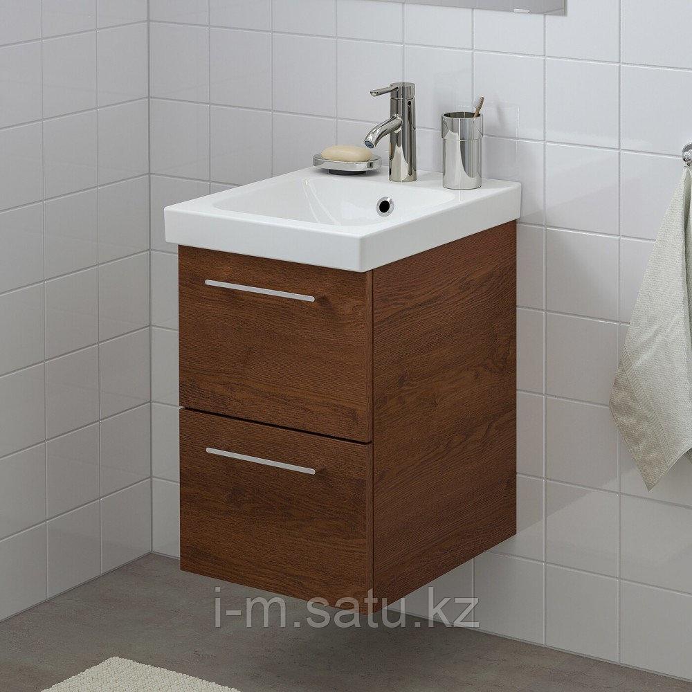 ГОДМОРГОН / ОДЕНСВИК Шкаф для раковины с 2 ящ, под коричневый мореный ясень, ДАЛЬШЕР смеситель, 43x49x64 см