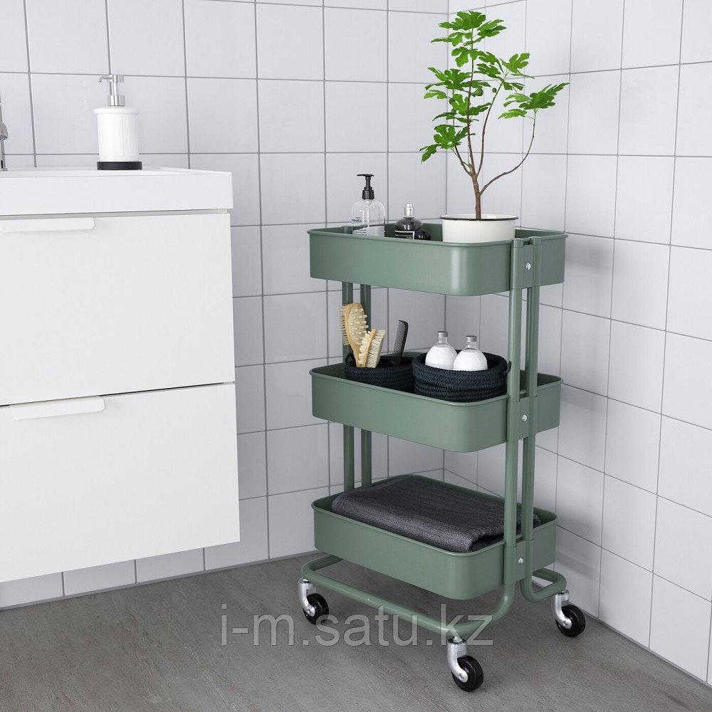 РОСКУГ Тележка, серо-зеленый, 35x45x78 см