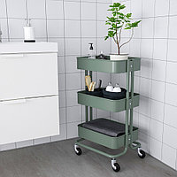 РОСКУГ Тележка, серо-зеленый, 35x45x78 см, фото 1