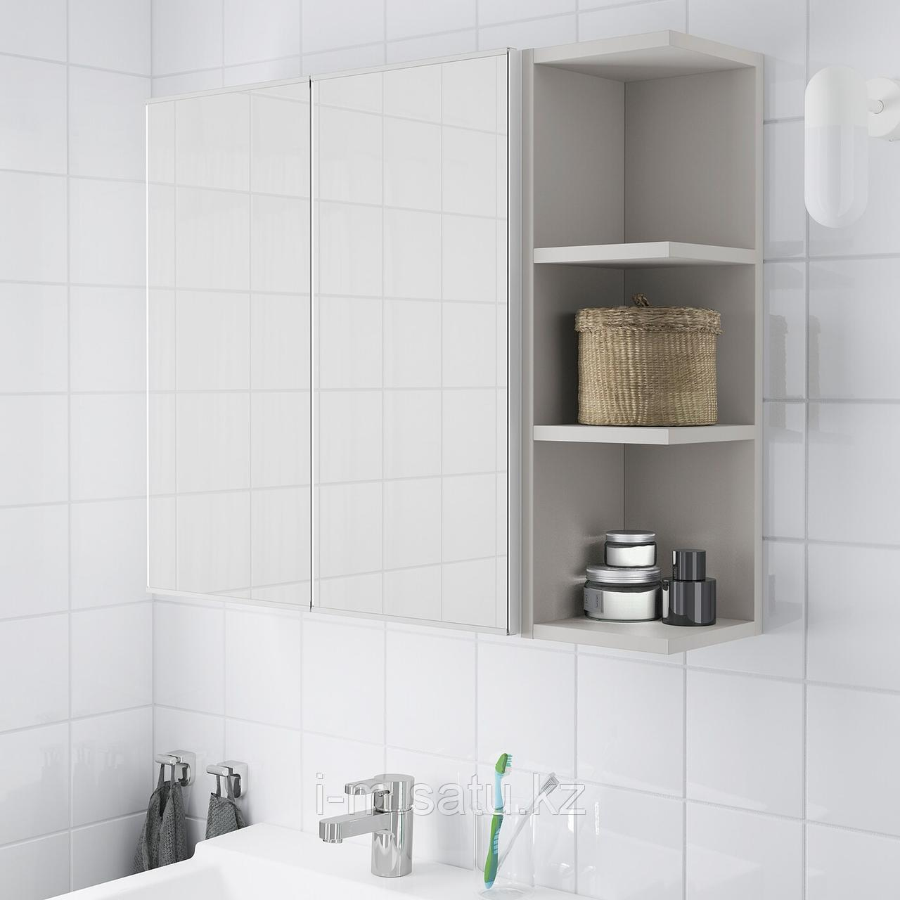 ЛИЛЛОНГЕН Зеркальн шкафч с 2 дврц/1 откр полк, белый, серый, 79x21x64 см