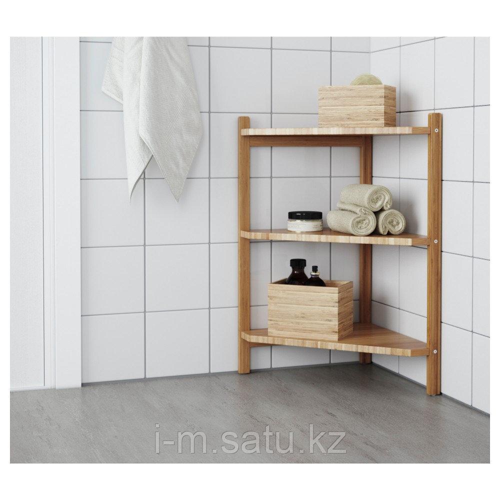 РОГРУНД Угловой стеллаж под раковину, бамбук, бамбук 34x60 см