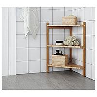 РОГРУНД Угловой стеллаж под раковину, бамбук, бамбук 34x60 см, фото 1
