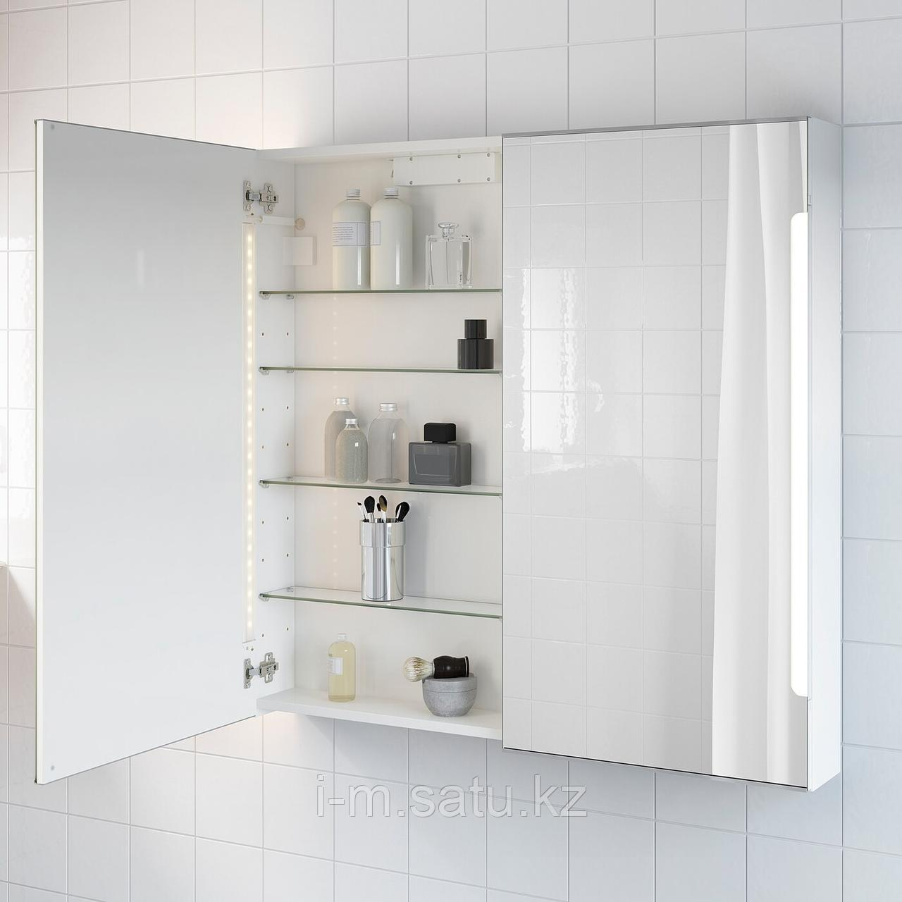 СТОРЙОРМ Зеркальн шкафчик/2дверцы/подсветка, белый, белый 100x14x96 см