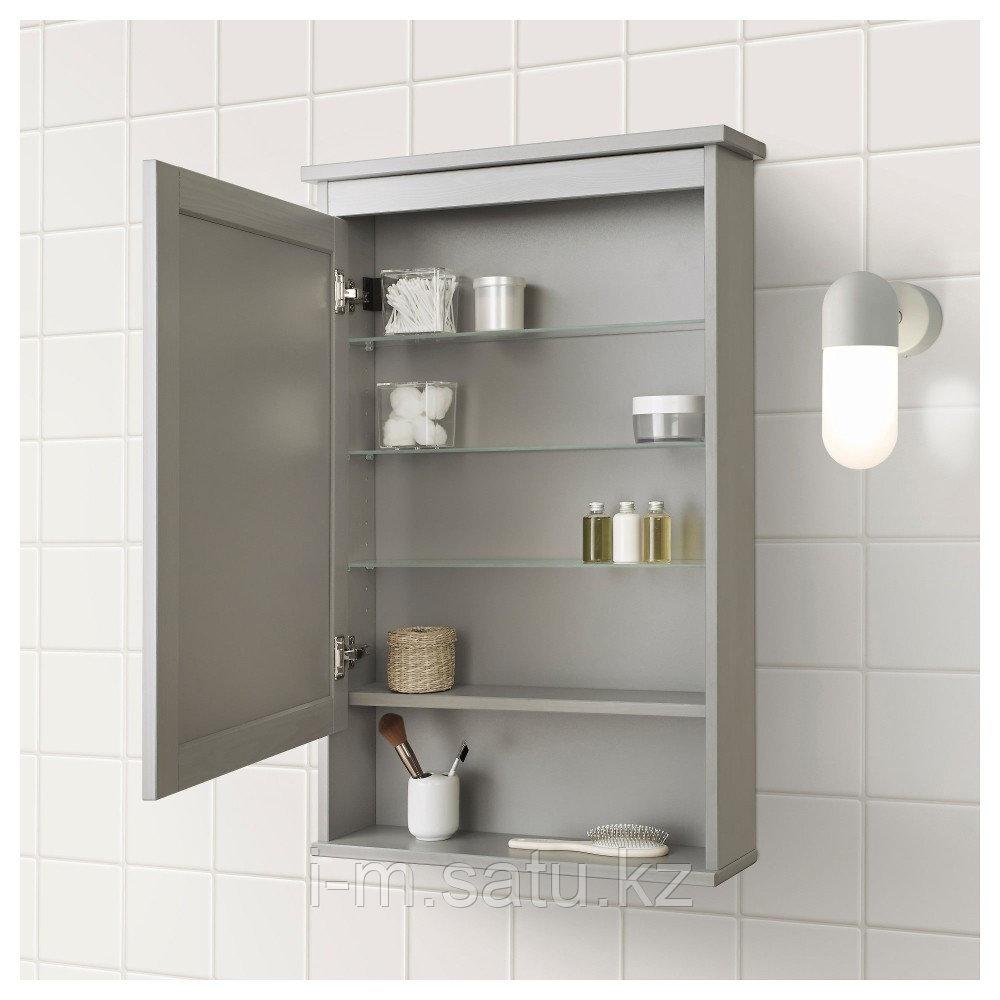 ХЕМНЭС Зеркальный шкаф с 1 дверцей, серый, серый 63x16x98 см