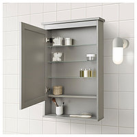ХЕМНЭС Зеркальный шкаф с 1 дверцей, серый, серый 63x16x98 см, фото 1