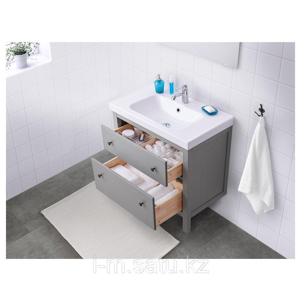 ХЕМНЭС Шкаф для раковины с 2 ящ, серый, серый 80x47x83 см