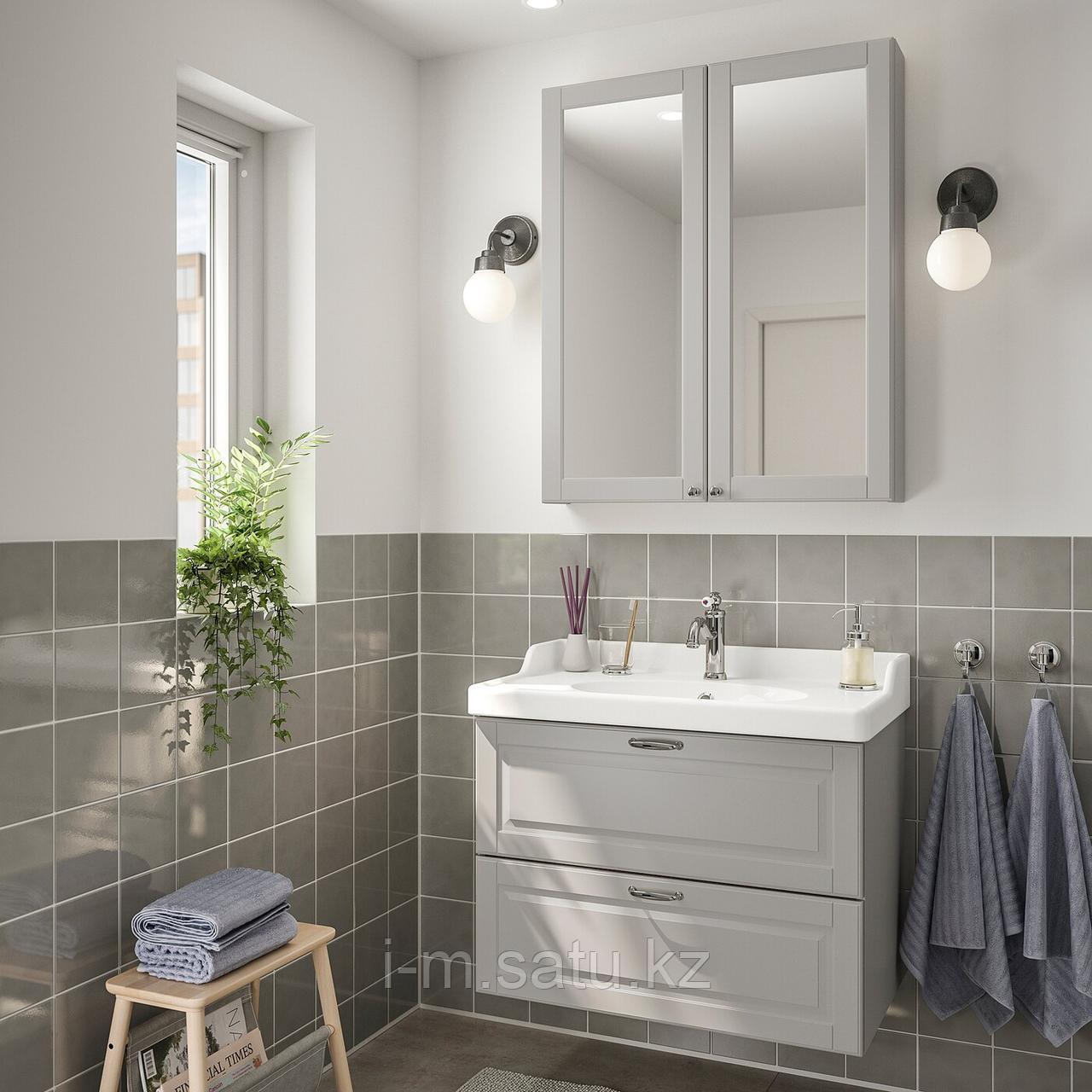 ГОДМОРГОН / РЭТТВИКЕН Комплект мебели для ванной,4 предм., Кашён светло-серый, ХАМНШЕР смеситель, серый