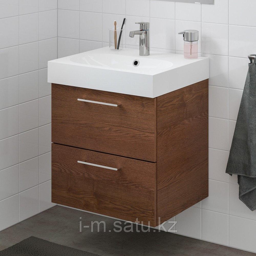 ГОДМОРГОН / БРОВИКЕН Шкаф для раковины с 2 ящ, под коричневый мореный ясень, БРОГРУНД смеситель, под коричневы