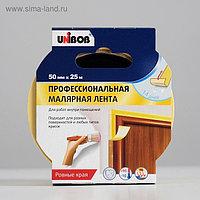 Профессиональная малярная лента UNIBOB для внутренних работ 50мм х 25м желтая