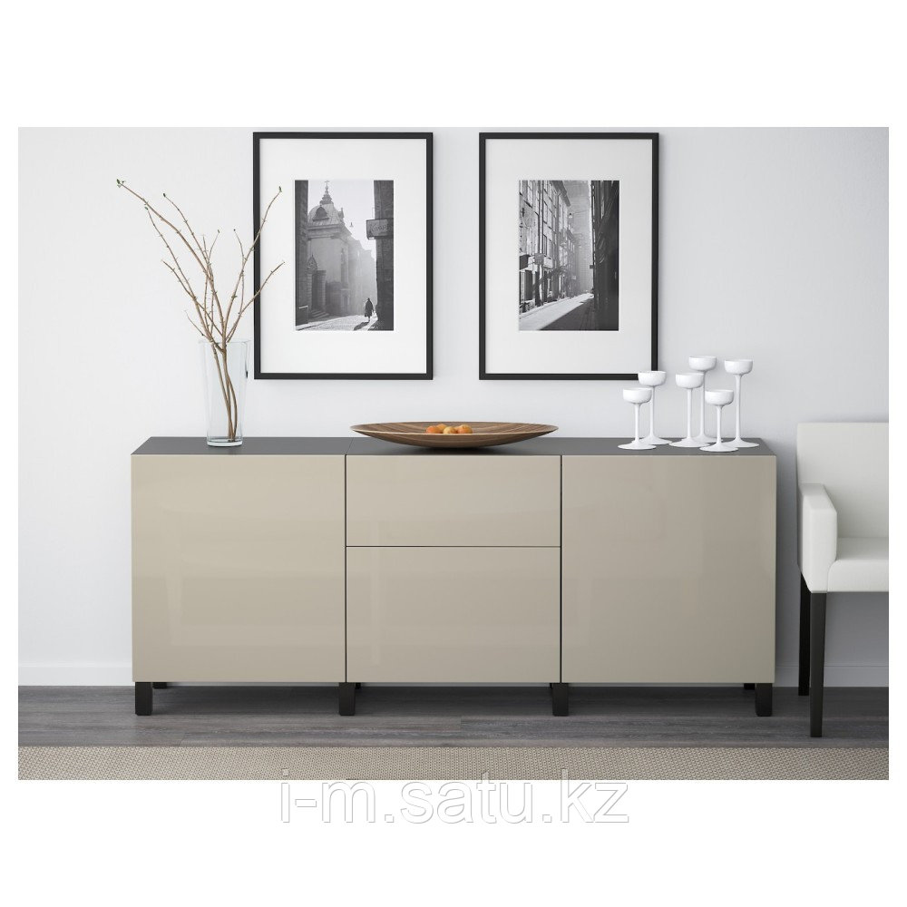 БЕСТО Комбинация для хранения с ящиками, черно-коричневый, Сельсвикен глянцевый/бежевый, 180x40x74 см