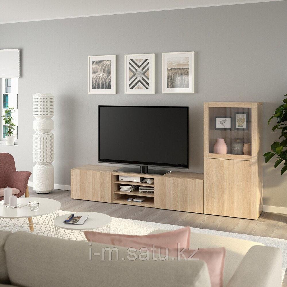 БЕСТО Шкаф для ТВ, комбин/стеклян дверцы, Лаппвикен, Синдвик под беленый дуб, прозрачное стелко, 240x40x128 см
