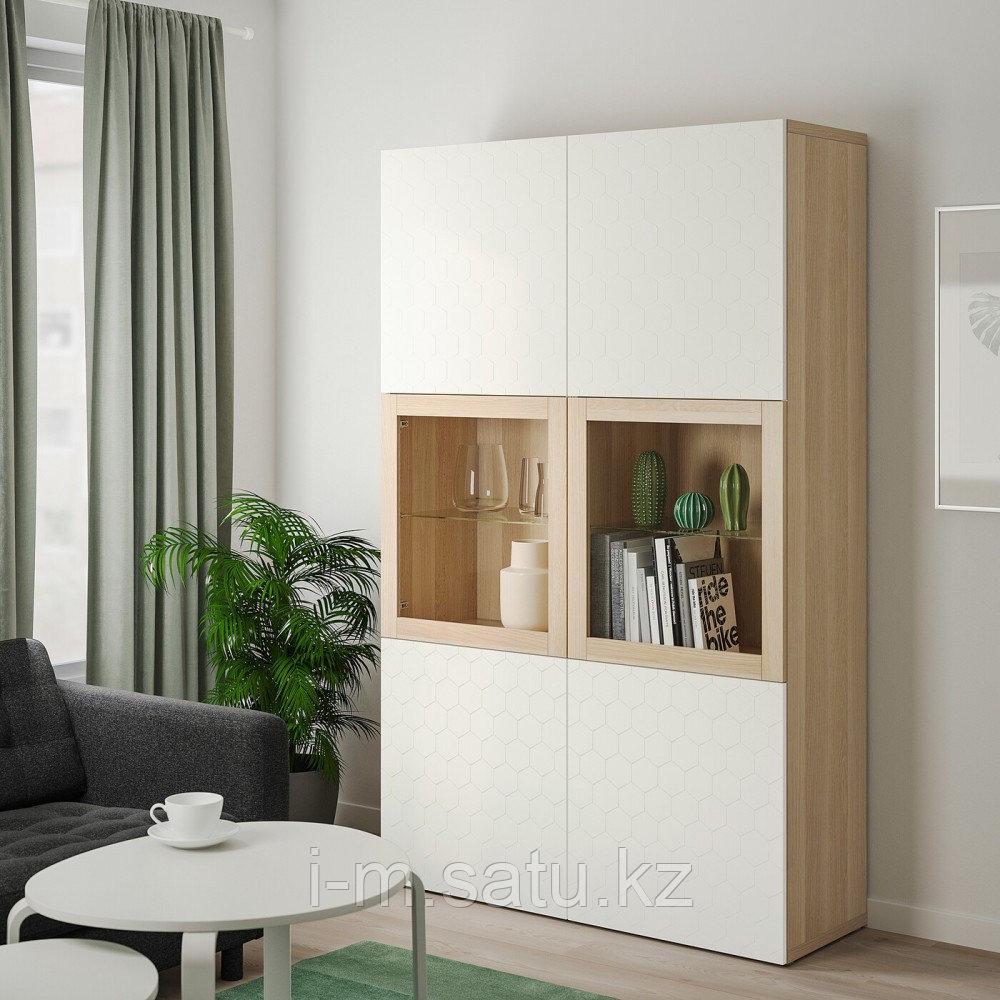 БЕСТО Комбинация д/хранения+стекл дверц, под беленый дуб, вассвикен белый прозрачное стекло, 120x40x192 см
