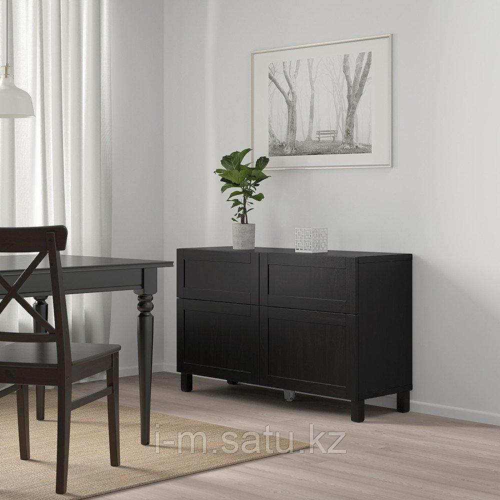 БЕСТО Комб для хран с дверц/ящ, ХАНВИКЕН/СТУББАРП черно-коричневый, 120x40x74 см