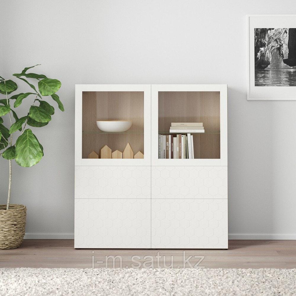 БЕСТО Комбинация д/хранения+стекл дверц, под беленый дуб, вассвикен белый прозрачное стекло, 120x40x128 см