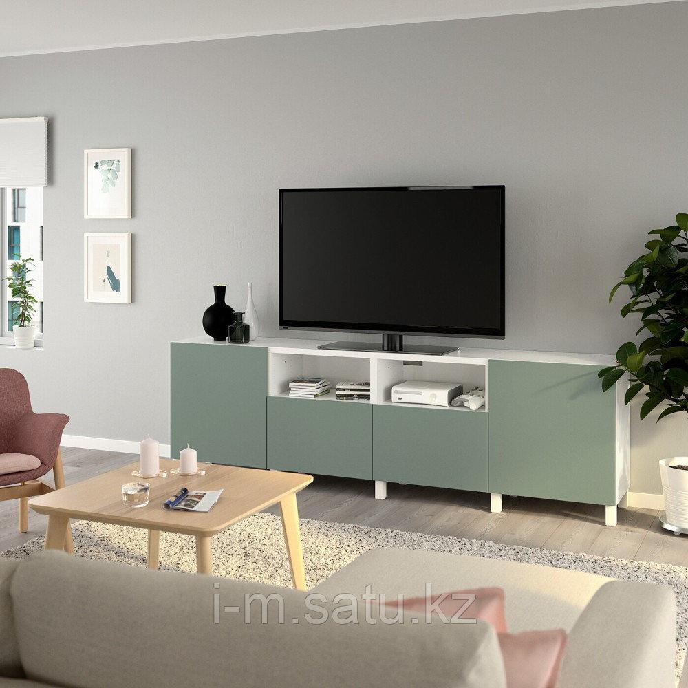 БЕСТО Тумба под ТВ, с дверцами и ящиками, белый, нотвикен/стуббарп серо-зеленый, 240x42x74 см