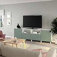 БЕСТО Тумба под ТВ, с дверцами и ящиками, белый, нотвикен/стуббарп серо-зеленый, 240x42x74 см, фото 1