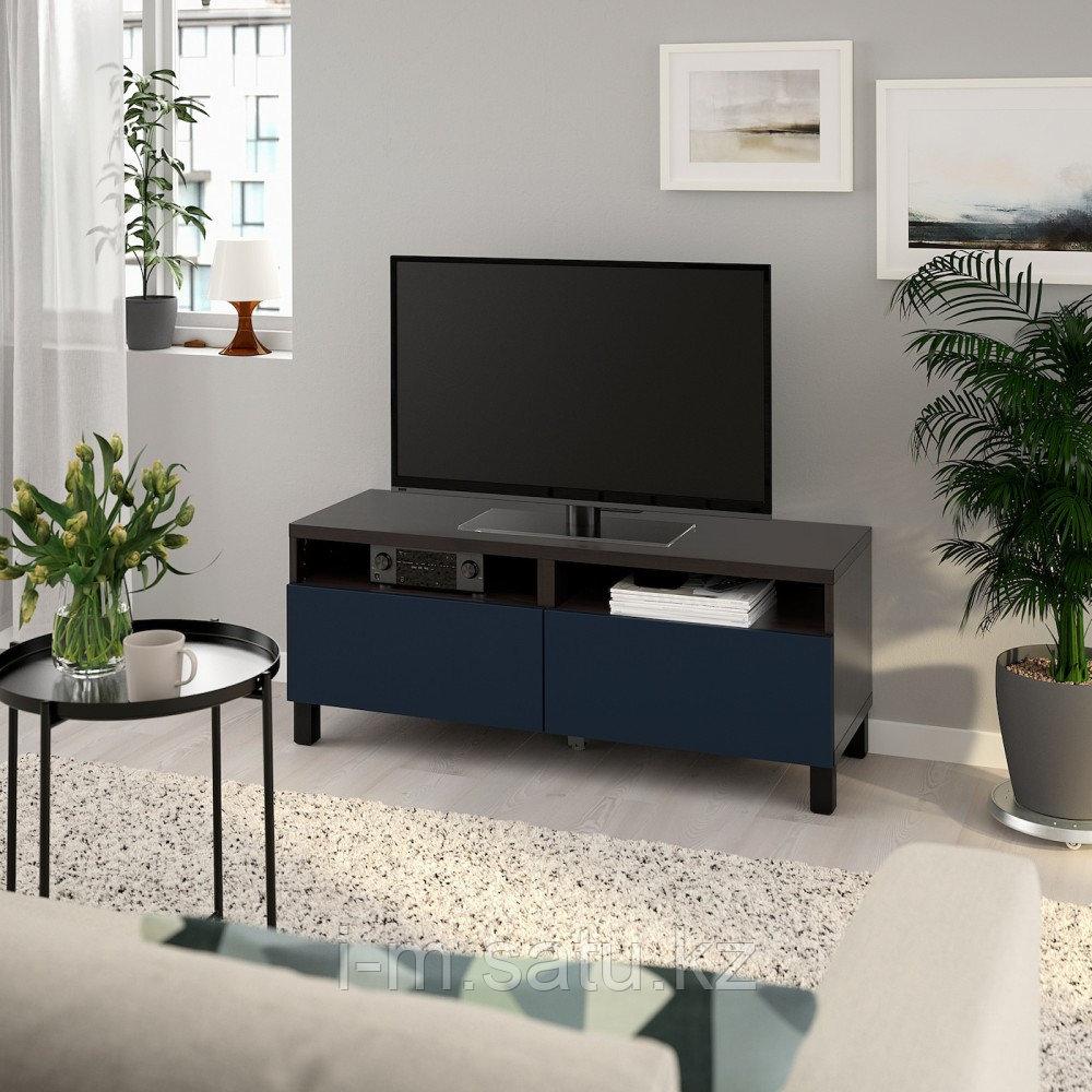 БЕСТО Тумба д/ТВ с ящиками, черно-коричневый, нотвикен/стуббарп синий, 120x42x48 см