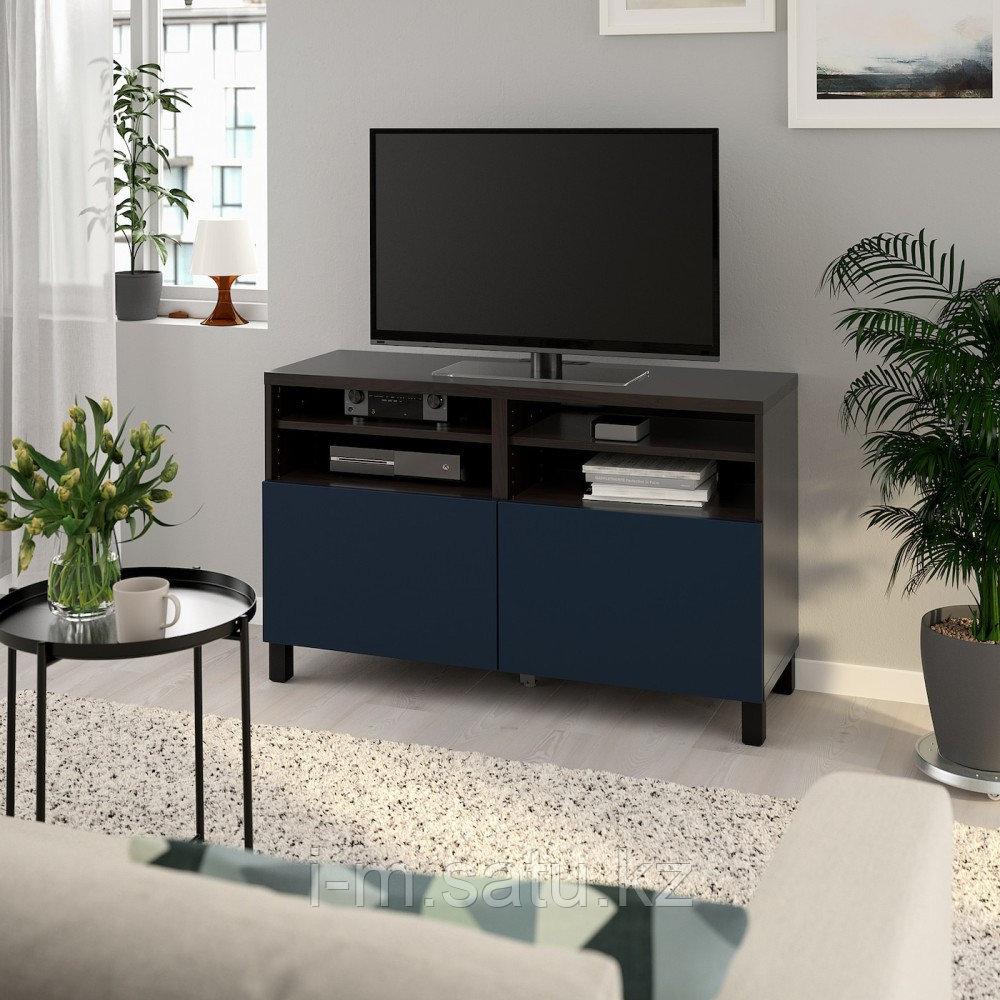 БЕСТО Тумба под ТВ, с дверцами, черно-коричневый, нотвикен/стуббарп синий, 120x42x74 см