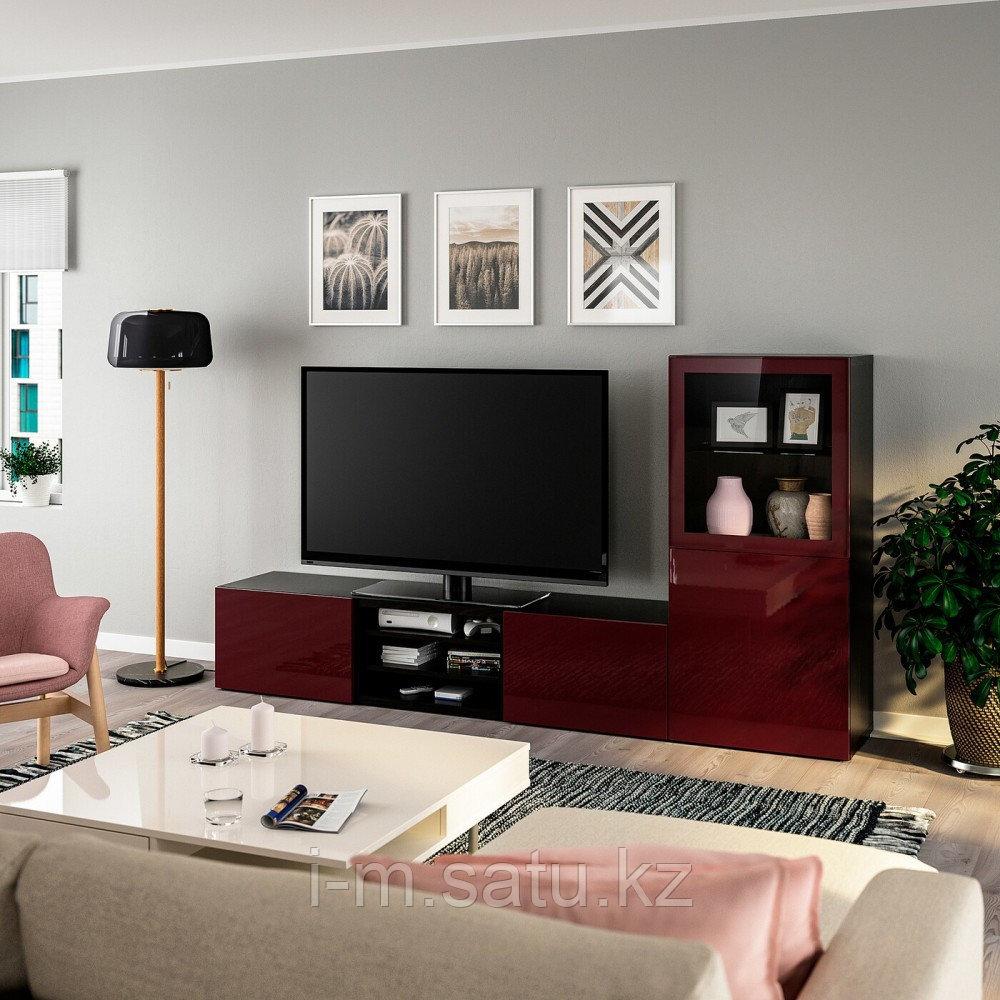 БЕСТО Шкаф для ТВ, комбин/стеклян дверцы, черно-коричневый Сельсвикен, прозрачное стекло, 240x42x128 см
