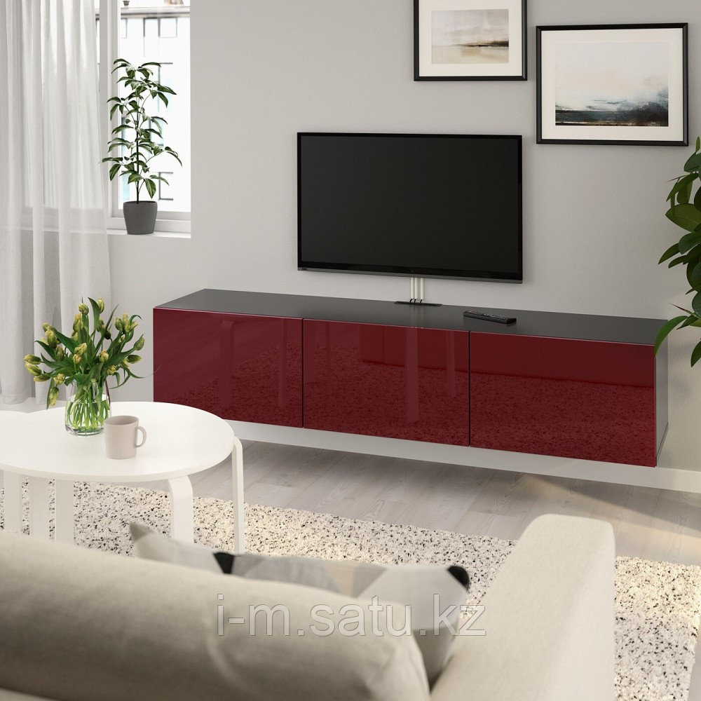 БЕСТО Тумба под ТВ, с дверцами, черно-коричневый Сельсвикен, глянцевый темный красно-коричневый, 180x42x38 см