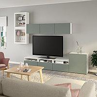 БЕСТО Шкаф для ТВ, комбин/стеклян дверцы, белый, Нотвикен серо-зеленый прозрачное стекло, 300x42x211 см, фото 1