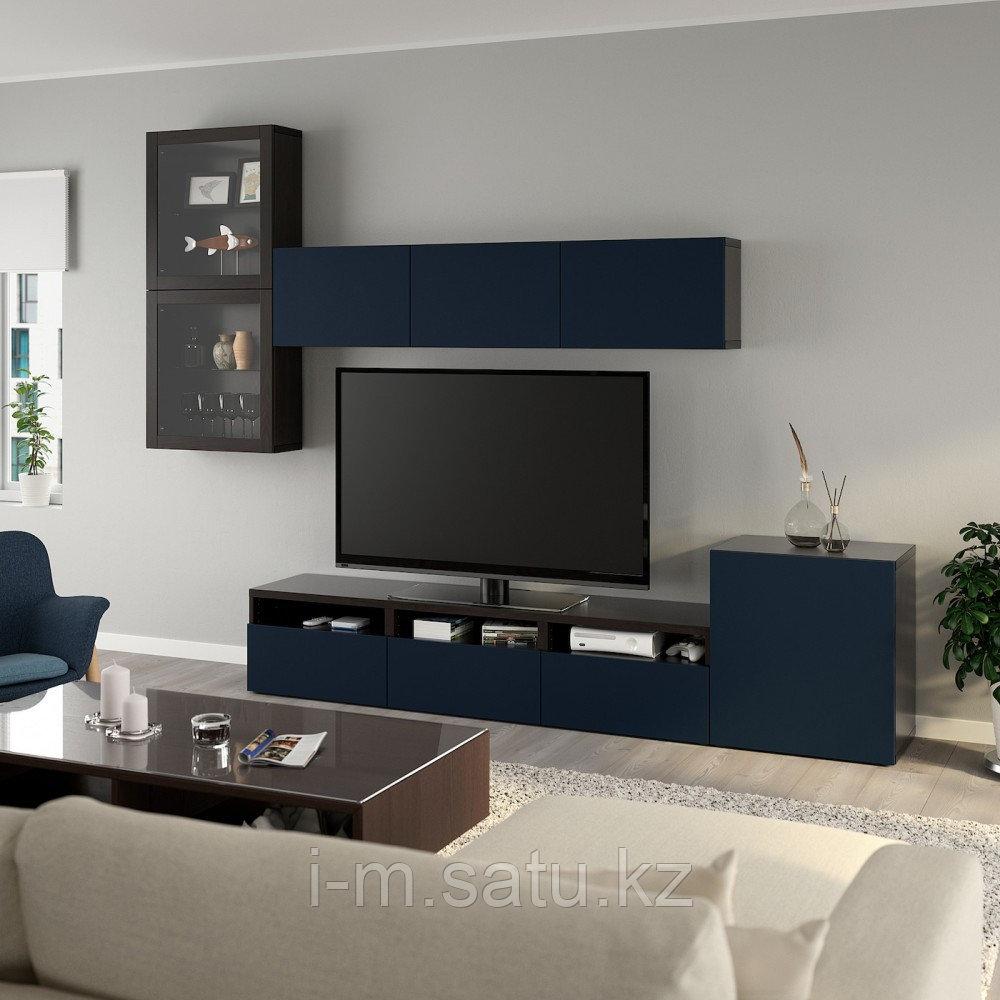 БЕСТО Шкаф для ТВ, комбин/стеклян дверцы, черно-коричневый, Нотвикен синий прозрачное стекло, 300x42x211 см