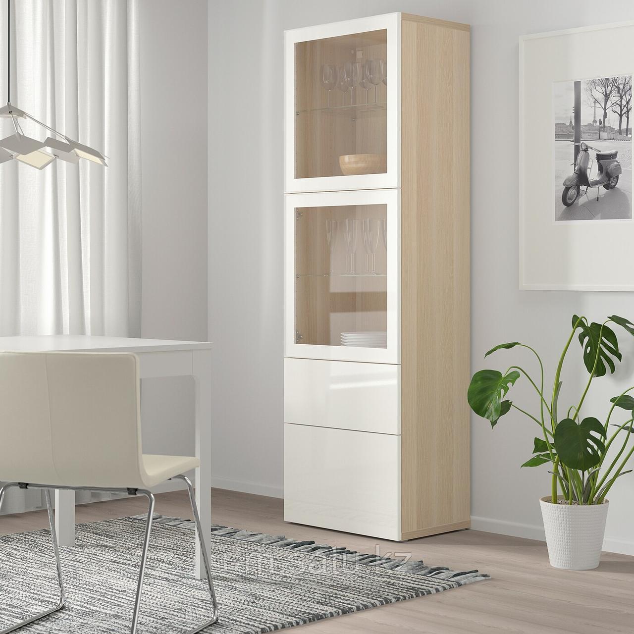БЕСТО Комбинация д/хранения+стекл дверц, под беленый дуб, Сельсвикен глянцевый 60x42x193 см